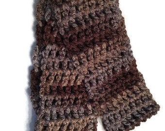 Blue and brown chunky cowl scarf infinity mobius fall bulky ombre