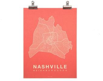 Nashville Neighborhood Map - Cream on Coral