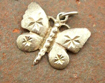 Vintage Sterling Silver Etched Butterfly Pendant