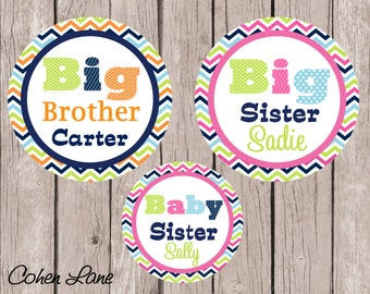 Printable Personalized Big Brother, Big Sister and Baby Sister Iron On Transfer Design.  Sibling Iron Ons.