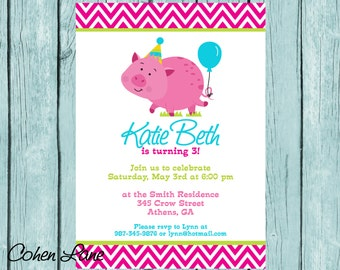 Custom Printable Pink Pig Invitation.  Personalized Pink Pig Birthday Party Invitation. Pink Pig birthday.  Birthday Party Invite.