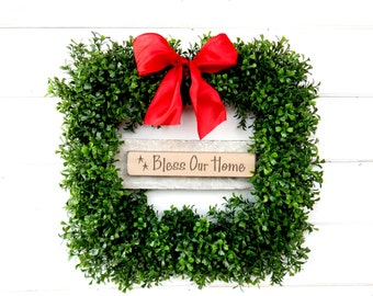 Christmas Wreath-Boxwood Wreath-BLESS our HOME -Housewarming Wreath-Winter Wreath-Square BOXWOOD Wreath-Door Wreath-Scented Wreath-Gifts