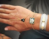 Orly collection Square leather bracelet.personalized bracelet. available at goldfilled/ Silver/ Rose gold .Handmade