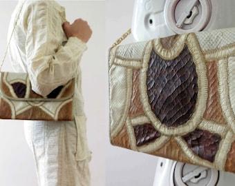 Vintage 70s Snake Skin Patchwork Envelope Shoulder Bag Clutch Ivory Brown Tan