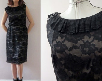 Vintage 60s Carol Brent Black Lace Shift Dress Ruffle Collar Small Medium