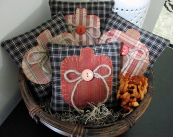 Pumpkin Bowl Fillers Hand Appliqued' Primitive Homespun Pumpkins on Homespun Fabric Pillows Basket/ShelfOrnies/Tucks French Country Decor
