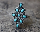Turquoise Blossom Ring / Sterling Silver Southwest Jewelry / Boho Vintage Size 9 1/2 Ring