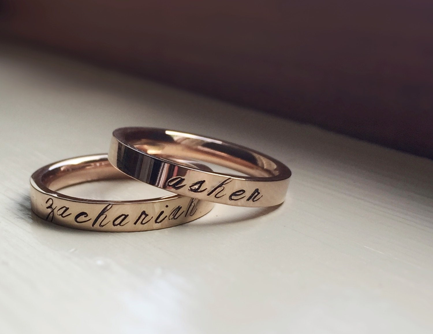 rose gold name rings personalized stacking ring band stacker. Black Bedroom Furniture Sets. Home Design Ideas