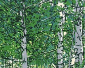 Aspens in Spring, original linocut print