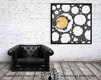 Golden white canvas art Swarovski® crystals. Canvas painting. Large canvas art. Golden and white canvas art. Golden black Swarovski wall art