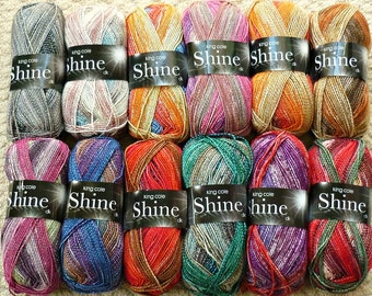 Knitting Wool/Yarn King Cole Shine Double Knitting (Light Worsted) Knitting Yarn/Wool