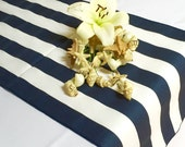 Navy Blue and White Striped Table Runner Wedding Table Runner - Navy blue edges - Select A Size