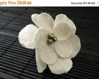BACK to SCHOOL SALE Ivory Flower Ring. Cherry Blossom Ring. Fabric Flower Ring. Bronze Filigree Adjustable Ring. Handmade Jewelry.