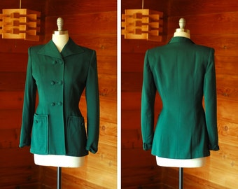 vintage 1940s blazer / 40s green wool double breasted jacket / size small medium