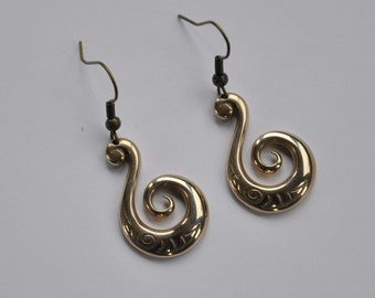 Solid Bronze Koru Earrings on bronze or sterling ear hooks