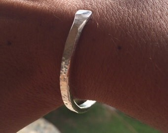Buena Suerte Bracelet, sterling silver hand forged textured adjustable cuff