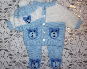 Crochet Baby Boy Sweater Set Teddy Bear Layette Outfit With Leggings Perfect For Baby Shower Gift or Take Me Home Outfit