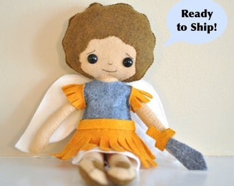 Catholic Saint Felt Doll - St. Michael the Archangel - Wool Blend Felt