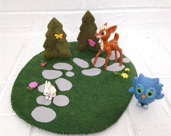 Felt Play Mat path and trees peg doll playscape pretend flower path princess imagination travel toy