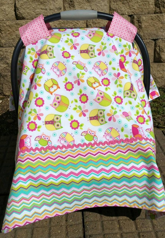 Car Seat Canopy For Baby Girl Owl And Floral Print Chevron