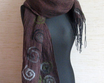 Linen Scarf Dark Brown Gray Moss Washed Spiral Snail Felted Wool