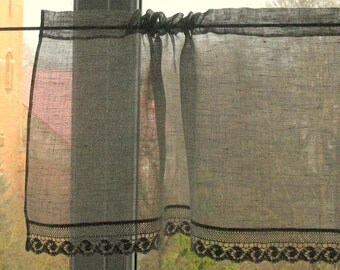 Curtain Lace Curtains Cafe Curtains Washed Linen Curtains Kitchen Curtains Shabby Chic Curtains Panels