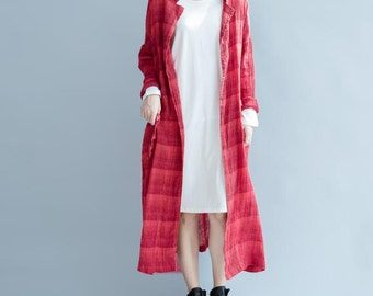 loose fitting long No deduction waist drawstring coat shirt loose fitting Red plaid gown