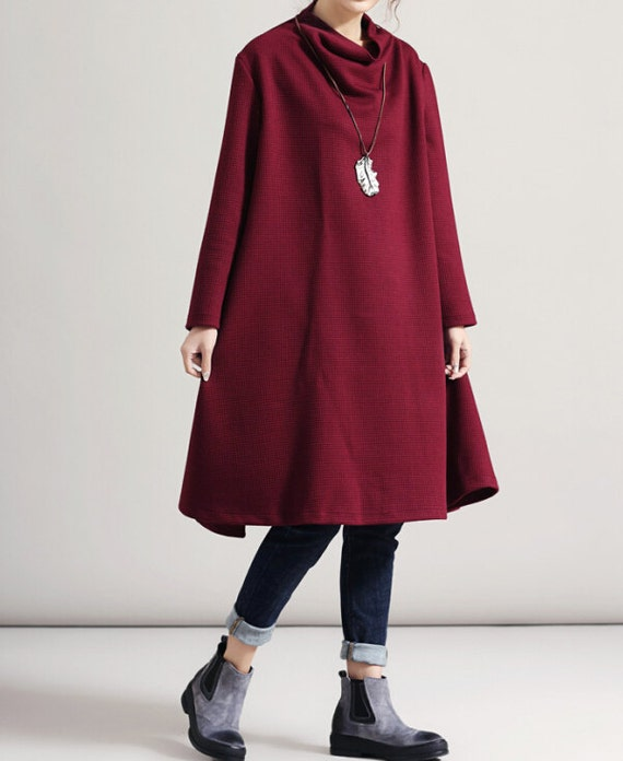 High Pile collar Oversize dress wine red large size dress