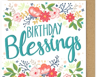 SALE Christian Birthday Blessings Square Greetings Card. Christian Greetings Card. Floral. Religious Birthday Card.