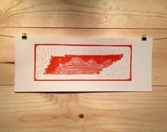 Tennessee state fly fishing lincout print