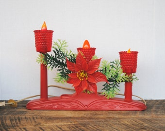 Vintage Red Tiered Electric Christmas Candelabra