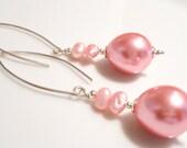 Was 15.00 Now 9.00 Sale Earrings,Pink Earrings,Pearl Earrings,Spring Earrings,Summer Earrings,Silver Earrings, Dangle Earrings