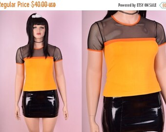 ON SALE 90s Mesh Color Block Shirt
