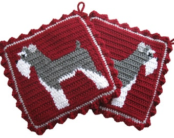 Schnauzer Pot Holders. Burgundy, crochet and knit potholders with miniature schnauzers. Dog trivet. Dog kitchen decor.