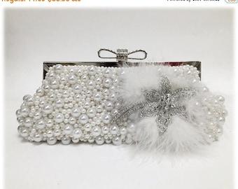 Bridal clutch, wedding clutch, pearl clutch, Crystal clutch, bridal evening bag, white clutch, bridal bag, feather clutch, bridesmaid clutch