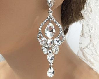 Bridal Earrings, Wedding Earrings, Crystal Chandelier Earrings, Victorian Inspired Crystal Earrings, Wedding Jewelry, Bridal Jewelry