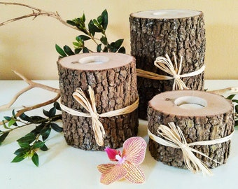 6 Tree branch candles, Tree bark candles, Rustic wedding candles, Wood candles, Holiday candles,  Reclaimed wood candles,Wedding centerpiece