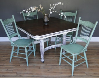 "Antique Square Oak Dining Table aqua teal turquoise cream, Dark Stained Top ""Beach Harvest"" Modern Vintage"