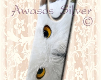 Metal bookmark with high quality printed original images. Beautiful image of a Snowy Owl's eyes on metal bookmark. High quality bookmark.