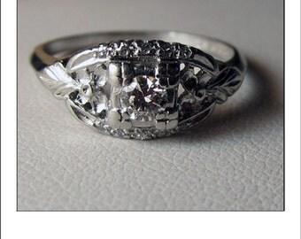Antique Deco Platinum Diamond Engagement or Cocktail Ring