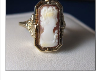 Rare 10k Antique Art Deco Esemco Flip Ring Carved Cameo and Onyx with Diamond - 2 rings in one