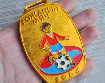 "Vintage Soviet aluminum medal,badge.""Leather Ball 1984"""