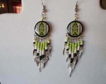 SALE Native American Style Beaded Southwestern Ceramic Earrings in Green and Black Drop, Gypsy, Boho, Cute, Light, Great Gift Ready to Ship