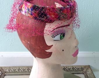 Vintage pillbox style Neon hat