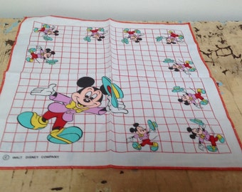 Vintage Mickey Mouse child's handkerchiefs, marked Walt Disney Company, set of 2