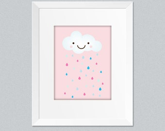 Instant Download Whimsical cloud with rain drops