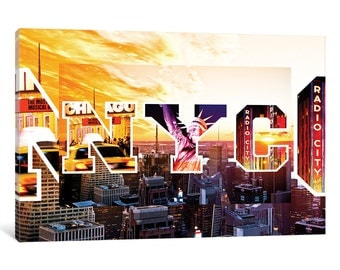 iCanvas NYC by NYC - Sunset Gallery Wrapped Canvas Art Print by Philippe Hugonnard