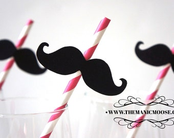 Set of 10 PINK Striped Mustache Straw Photo Props - Mustaches on PINK Striped Paper Straws