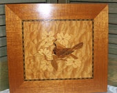 """Wood Marquetry by William Bader """"Cardinals and Doewoods"""" Handmade Asheville NC 1952"""