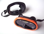 Pair of Vintage Swim Masks, Rubber Scuba Masks with Glass Faces, One Panama, One For Parts or Display